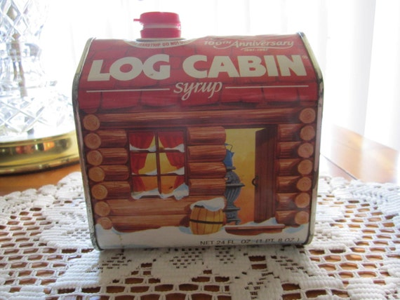 Log cabin vintage syrup tin canister th anniversary