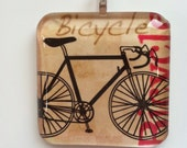 Bicycle, glass tile pendant/necklace, adoption fundraiser