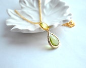 Bridesmaid necklaces Green Necklace Lime Glass Teardrop in 14k Gold Plate Set of 1 2 3 4 5 6 7 8 9 10 12
