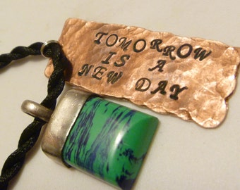 Tomorrow is a New Day Quote Upcycled Copper Hand Stamped Necklace