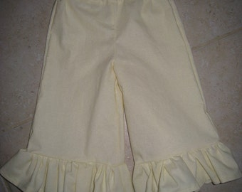 Cream Colored Off White Ruffle Pants Baby and Girls 6 12 18 24 Months 2t 3t 4t 5t 6 7 8 Years