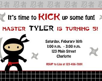 ninja birthday invitation -- ninja party -   You print or I print