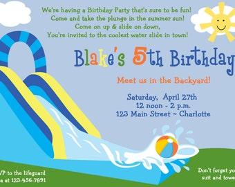 Waterslide party birthday invitation -- pool party - waterslide - pool party