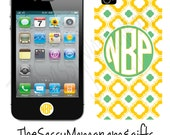 Personalized PLASTIC iphone 4 and 4s case Green and Yellow Lattice - custom made - Design your Own iPHone 4 or 4s Case