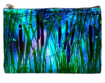 Cattails, cattail cosmetic bag, blue cosmetic makeup bag, zipper makeup bag, large blue cosmetic bag