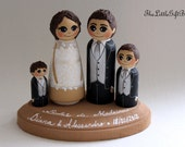Wedding Cake Topper / Customized Wood Peg Dolls / Couple plus 2 small pegs (perfect for children or pets) and a plaque / with 3D hair