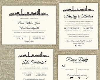 Boston Skyline Wedding invitation SAMPLE ONLY