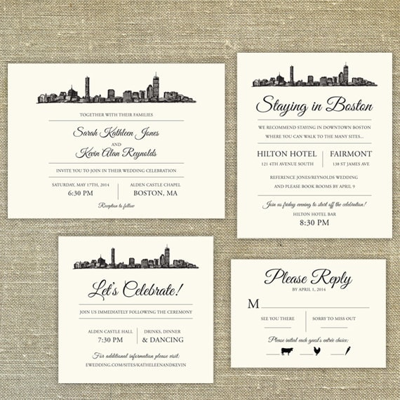 boston skyline wedding invitation sample only