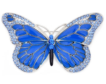 Blue Enamel Wing Butterfly Crystal Pin Brooch 1001053