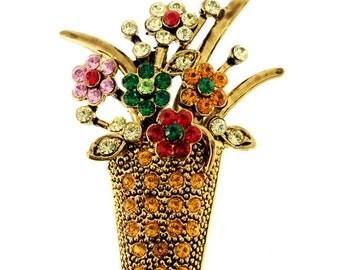 Topaz Vintage Style Flower Basket Swarovski Crystal Pin Bouquet Pin Brooch 1003252