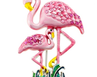Mother and Baby Pink Flamingo Pin Brooch 1000481