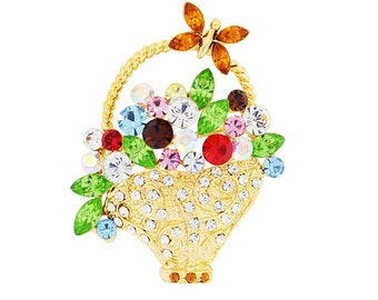Multicolor Flower Basket With Butterfly Pin Swarovski Crystal Pin Brooch 1011842