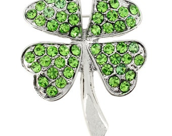 Green Lucky 4 Leaf Clover Flower Pin Brooch 1000043