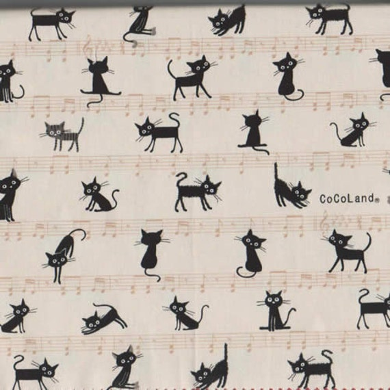 Cocoland Cat Fabric in Natural by Kokka Fabric Japanese Import Fabric -  1 Yard