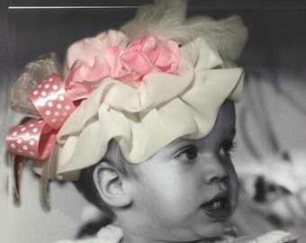Baby-Toddler Fascinator-Hat, Ruffles, Ribbons, Florals and Feathers, Photo Prop, Pink and White One Size Fits Most