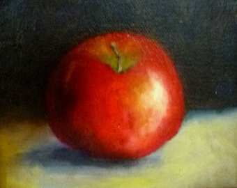 Red Apple still life by Alexandra Kopp 4x5 inches