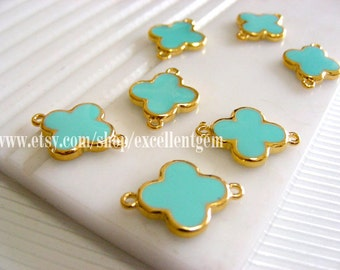 6-12 pcs High quality Gold plated Double-sided Metal Clover Connector in baby blue color- 15mm