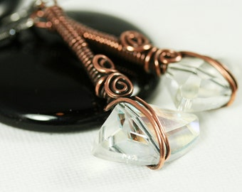 Large Crystal Copper Drop Earring - Clear color