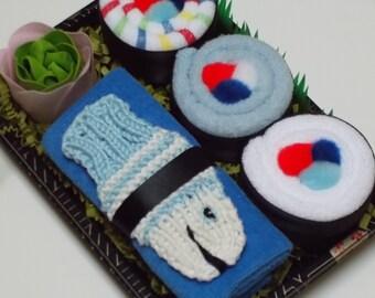 New Baby Boy Gift - Baby Boy Shower Gift - Baby Sushi Washcloths - Blue Fish