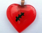 50% off sale, big sale, Broken heart glass pendant