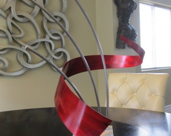 Red Abstract Metal art indoor/outdoor garden sculpture  by Holly Lentz