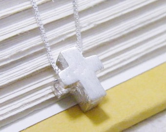 tiny sliding sterling silver organic brushed texture cross