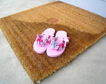 Girls Flip Flops T-Shirt Flip Flops Beach Flip Flops Size 13 - 1 Pink Gray White Recycled T-Shirt Flip Flops Summer Flip Flops ohzie