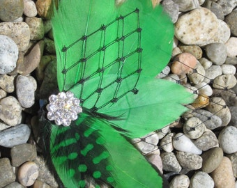 Green and Black Feather Fascinator