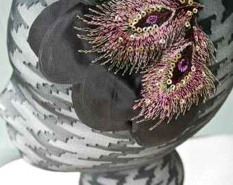 The JOYCE - black headpiece, black fascinator, black hair clip, black hat, purple detail
