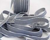 Striped Grosgrain Ribbon -- 1 / 2 inches -- Black White 3 yds