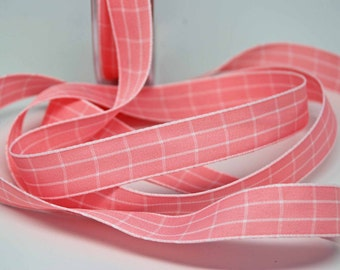 Grid Check Ribbon 5/8 inch -- Carnation Pink -- Light Pink Plaid White