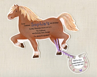 "10 Horse Birthday Party | Invitations | Pony Party | Riding | Personalized | Printed | Sara Jane | Ranch | Farm Birthday | 5""x7"" Invitation"