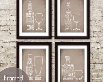 Red Wine, White Wine, Beer and Whiskey - Set of 4 - Art Prints (Featured in Vintage Parchment) Top Shelf Alcohol Series