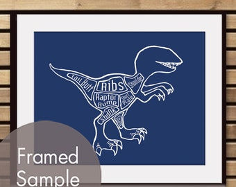 Velociraptor, A.k.a. Raptor Dinosaur Butcher Diagram - Art Print (Featured in Navy) (Buy 3 and get One Free)