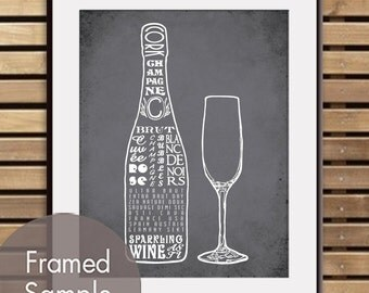 Champagne and Glass - Art Print (Featured in Charcoal) (Top Shelf Alcohol Series) Buy 3 Get One Free
