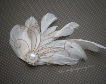 Ivory, Feather, Bridal, small, Fascinator, weddings, Feathered, Hair, Clip, Wedding, Accessories, pink - IVORY & PINK PEARL