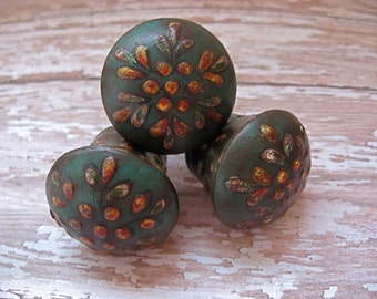 2 Antiqued Teal Green Floral Knobs Bohemian Exotic Colorful Hardware B-6