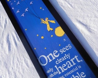 The Little Prince Inspired Handpainted Framed Wooden Growth Chart---Personalizion included
