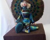 Art deco Gene doll, peacock feathers fan, OOAK
