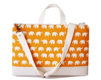 "SALE-15"" Macbook or Laptop bag with handles and detachable shoulder strap- Orange  elephant -Ready to ship"