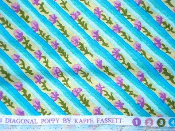 SALE : Kaffe Fassett Diagonal Poppy Duck Egg Rowan Fabrics FQ or more