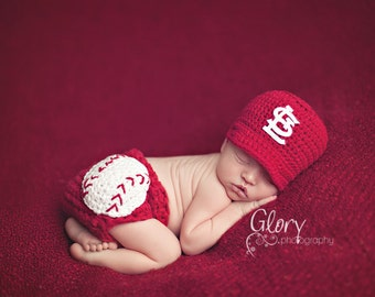 Newborn photo prop, Baby Boy baseball Set, cap and diaper cover