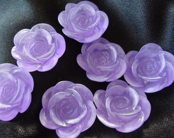 Frosted Large Purple Resin Flower Cabochons 18mm