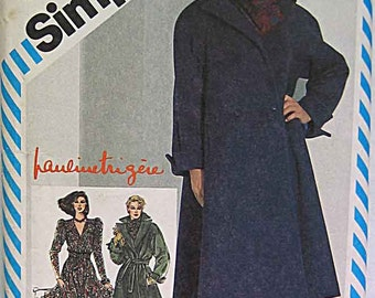 Vintage 80's Designer Pauline Trigere Misses' Dress, Lined Coat, Scarf and Belt, Simplicity 5706 Sewing Pattern UNCUT Size 10