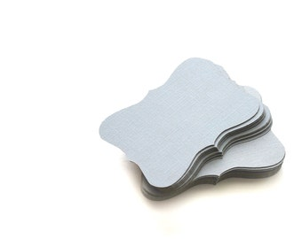 24 light grey / Silver Bracket cards (3.5 x 2.5 inches) cardstock die cuts A230