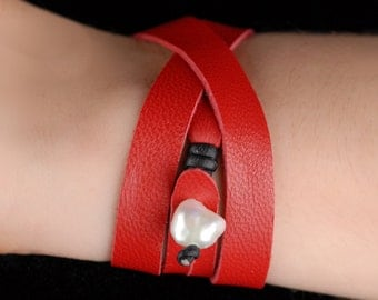 Leather Wrap Bracelet in Scarlet with Freshwater Pearl