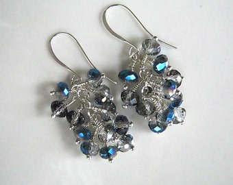 Silver and Blue Crystal Cluster Earrings Silver Blue Cluster Earrings Blue Earrings