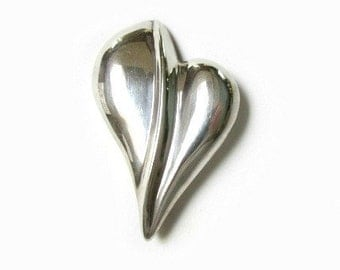 Sterling Heart Brooch Pin Vintage Silver Large Free Form 2 1/4""