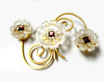 Vintage Carved Lucite Gold Brooch Rhinestone Flower Pin Huge Pin For Mom Amazing Gift Idea Under 100 Jewelry