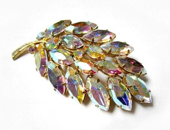 "Vintage 2 3/8"" Aurora Borealis Rhinestone Glowing Leaf Brooch Pin"